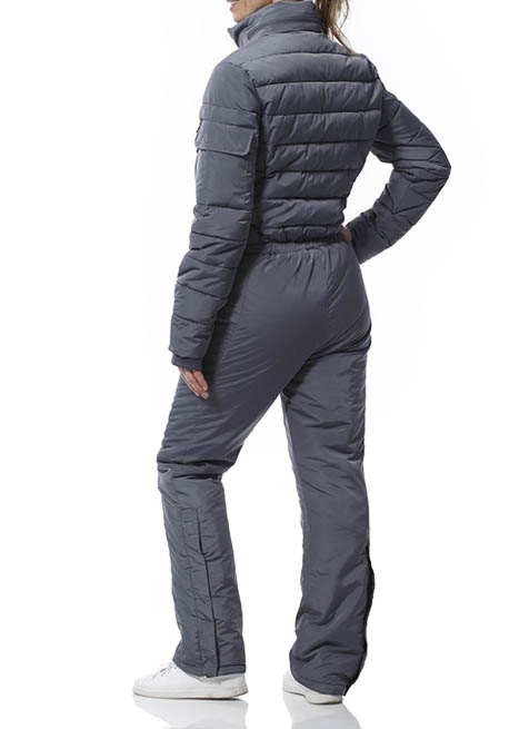 Snowsuit for women. ONE Grey women's snowsuit. Warm coverall with many stylish features. Created for cold and frosty weather. High quality suit from The DALSET.